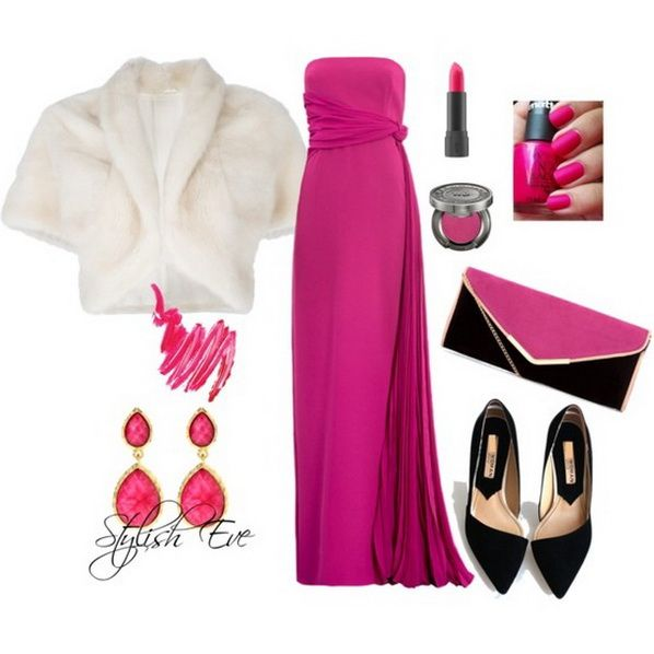 This is very elegant with the faux fur cutoff jacket//Pink Winter 2013 Outfits for Women by Stylish Eve