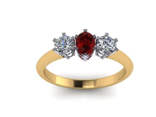 Round ruby with diamonds and two tone effect. www.jewellerybyliamross.com