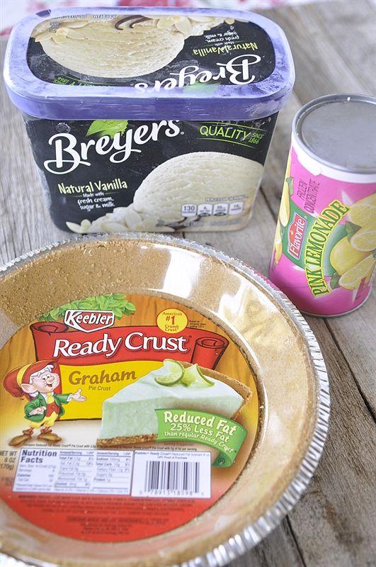 3 Ingredient PINK LEMONADE PIE: graham cracker crust, 1/2 gallon vanilla ice cream, 1 can frozen lemonade concentrate