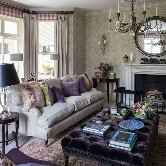 Grey And Heather Living Room With Tactile Fabrics Subtle Patterns