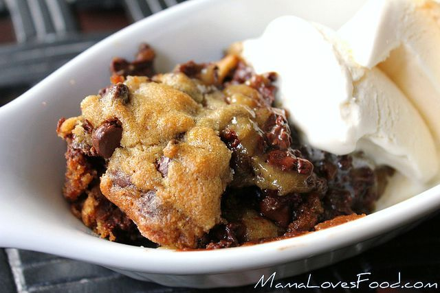 Deep Dish Chocolate Chip Cookie Pie Recipe I think I'll try to make it w/ my own cookie dough.
