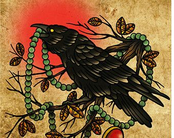 Crow with Pearls, Neo-Traditional Tattoo Flash, Old School, Art Print 12x16