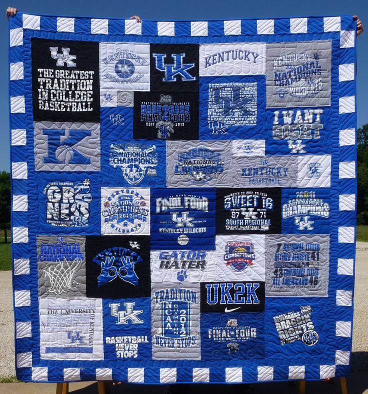 T Shirt Quilt Pattern Book : photo of tshirt quilt kentucky..love this one! T-shirt quilts Pinterest Stitching, Sports ...