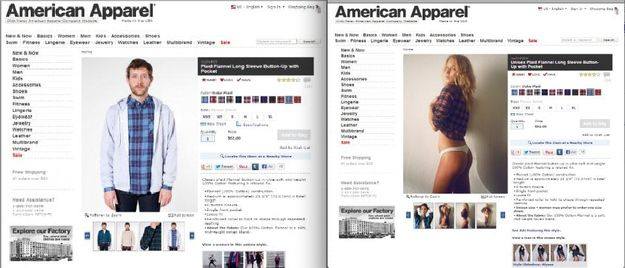 See the difference between males and females modeling unisex clothing in American Apparel ads.