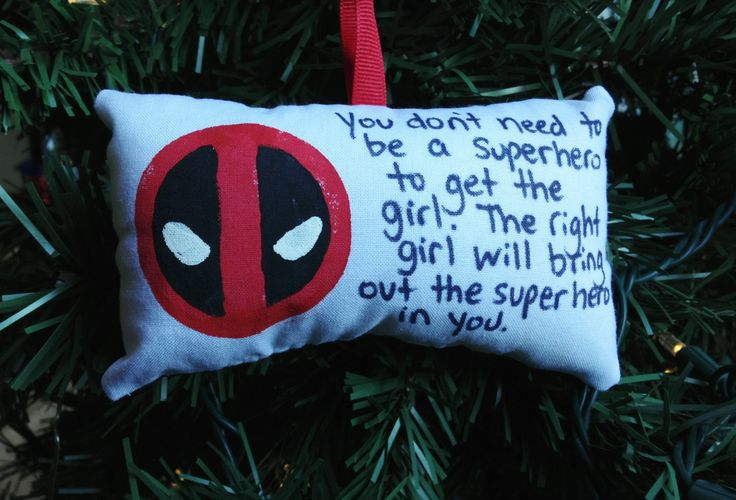"Deadpool ""Bring Out the Superhero in You"" Christmas Ornament Marvel X-Men Mutant Wade Wilson Merc Mouth Ajax Francis Vanessa by HollyAndHerHobbies on Etsy"