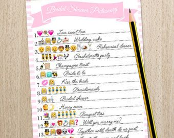 Bridal Shower Game Wedding Emoji Pictionary by ...