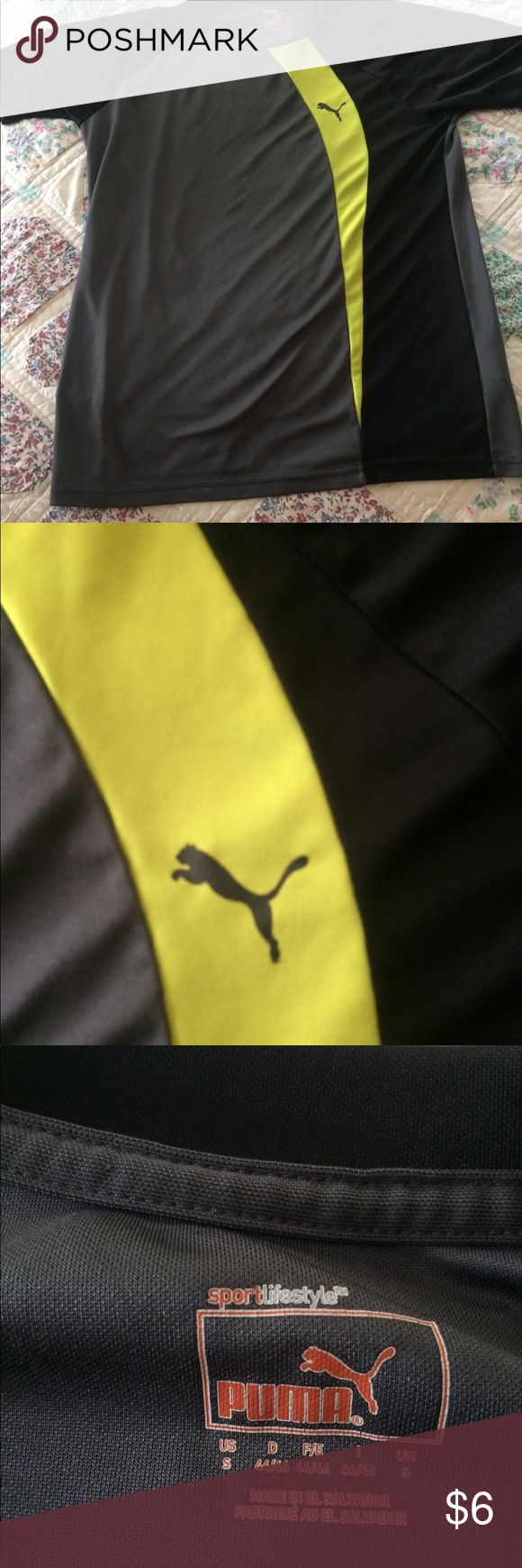 Boys' puma sport shirt. GUC! Small. Lycra blend athletic shirt in black and yellow. Puma Shirts & Tops Tees - Short Sleeve