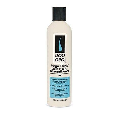 Doo Gro - Mega Thick Leave In Gro Strengthener - Epaississant et fortifiant. Idéal pour toute la famille et peut être utilisé sur tous les types de cheveux, y compris naturel, colorés, décolorés, tissés, tressés et défrisés. Épaissit & et renforce  A l'aloe vera, protéines et beurre de karité. Formule légère non grasse. Aide à réparer les cheveux secs , faibles et abîmés. Favorise les cheveux épais et une croissance forte. Réduit les pointes fourchues. Contrôle les frisottis.