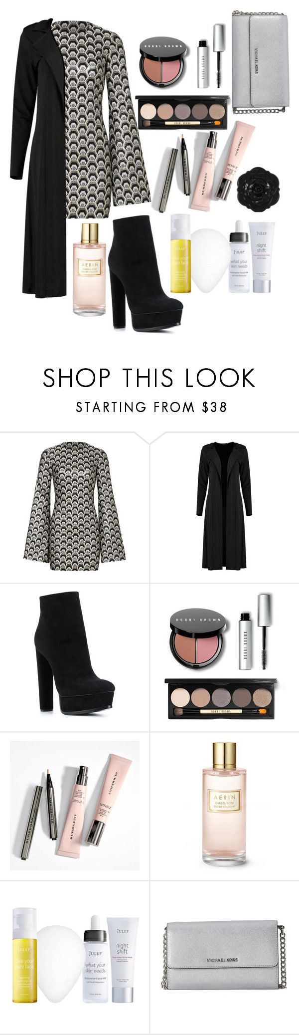 """Duster Coat and Dress"" by o-p-backe ❤ liked on Polyvore featuring Rubin Singer, Boohoo, Casadei, Bobbi Brown Cosmetics, Swissco, Estée Lauder, Julep and Michael Kors"
