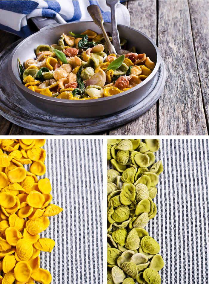 Una cascata i coriandoli di orecchiette tricolori! Per festeggiare il Carnevale anche in cucina. La ricetta su toomaki.info