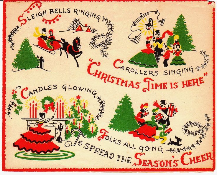 Sleigh Bells Ringing | Vintage christmas cards, Christmas