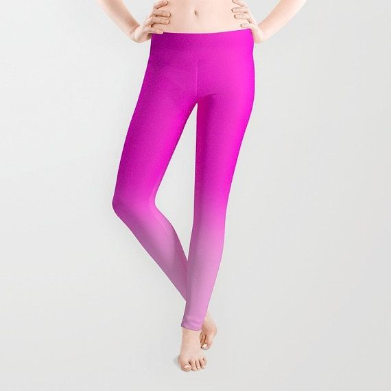 pink leggings pink yoga leggings  pink yoga pants  hot pink