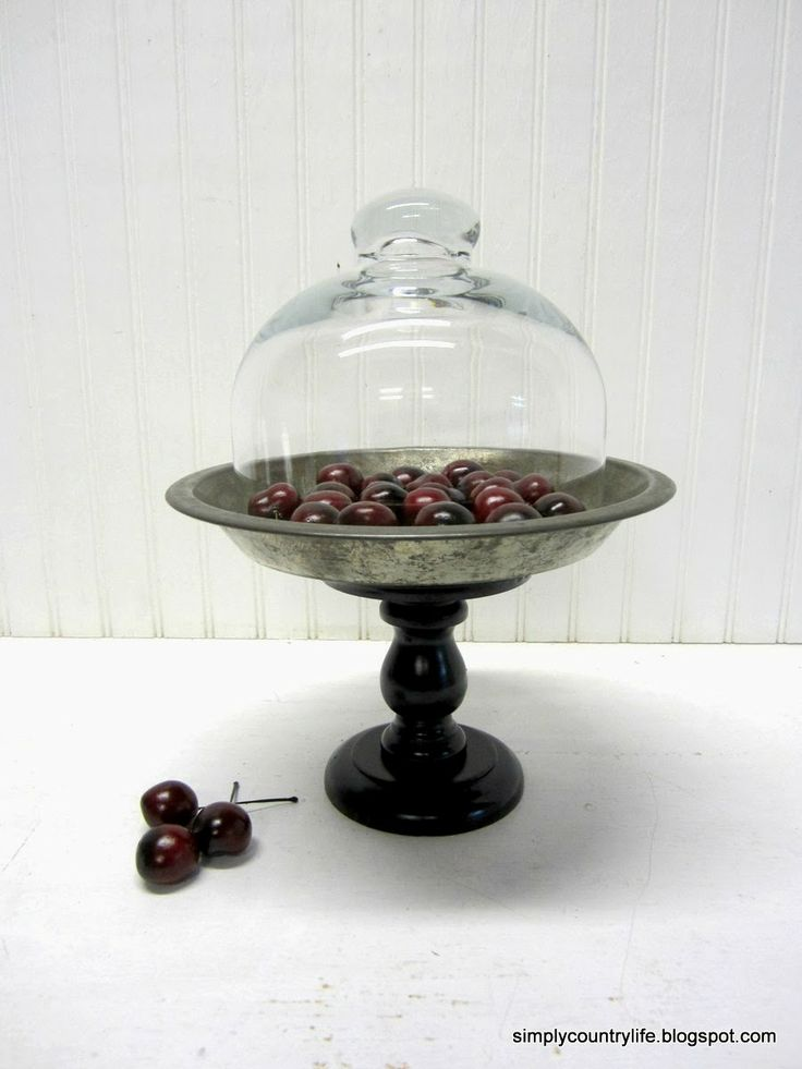 Simply Country Life: Repurposed flea market Vintage Pie Tin, thrift store wood candle holder and glass cloche.