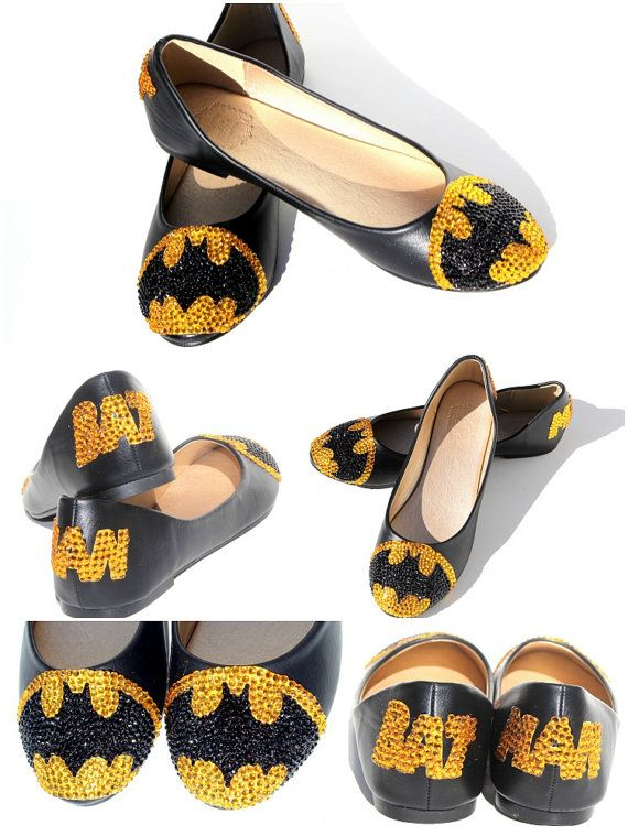 Batman Flats with Swarovski Crystal by WickedAddiction on Etsy