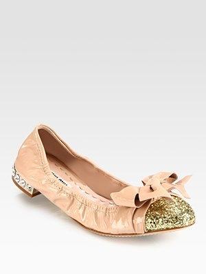 Miu Miu - Glitter Patent Leather Bow Ballet Flats. Love them!!!!!!!