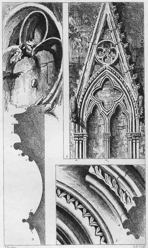 John Ruskin, The Seven Lamps of Architecture, 1855. Traceries and Mouldings from Rouen and Salisbury. R. P. Cuff, engraver. Scanned by George P. Landow for victorianweb.org.