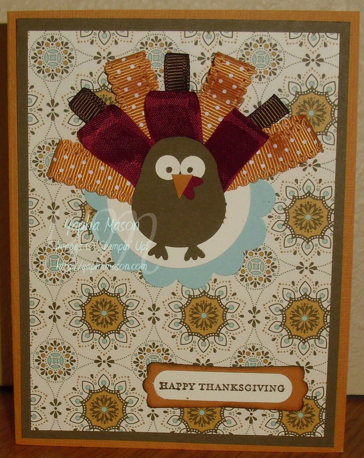 Stampin Up Owl Punch-- turkey.  Love the ribbon idea!
