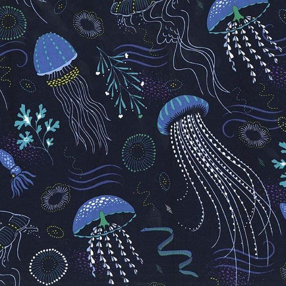 From the Michael Miller line, Into the Deep (PS7111-LAGO-D) designed by Patty Sloniger; has gorgeous delicate jellyfish in shades of blue.  Listing is for 1 yard, 36 x 44. Woven 100% cotton. Cut from the bolt, so multiple yards available or Ill be glad to set you up for 1/2 yards or multiple cuts of any of my fabrics.