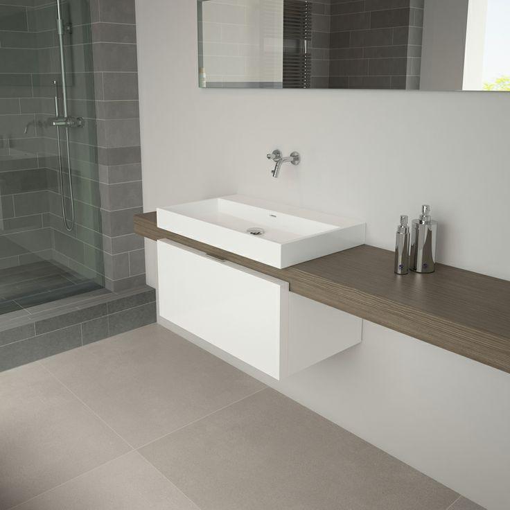 17 beste afbeeldingen over badkamer op pinterest spotlight toiletten en donkerbruin - Badkamer imitatie vloertegels ...