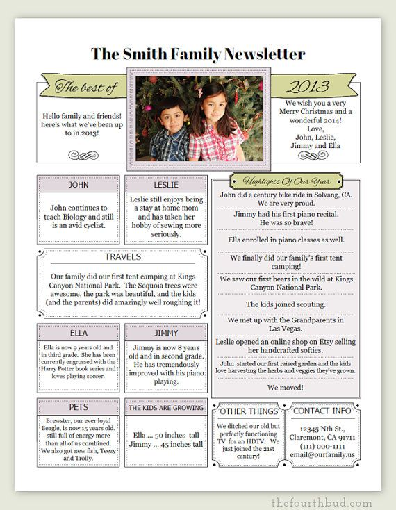 A Year In Review / Christmas Letter PDF Template by thefourthbud