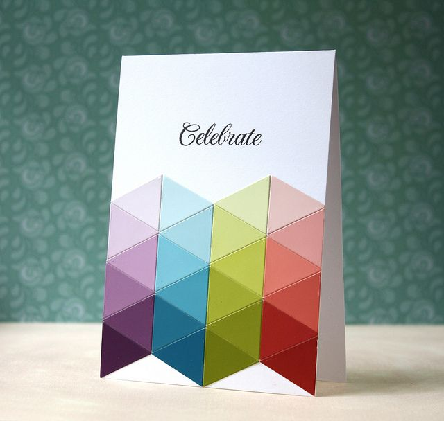 Cute and quick card using scraps or paint chip samples in an ombre - Sample Cards