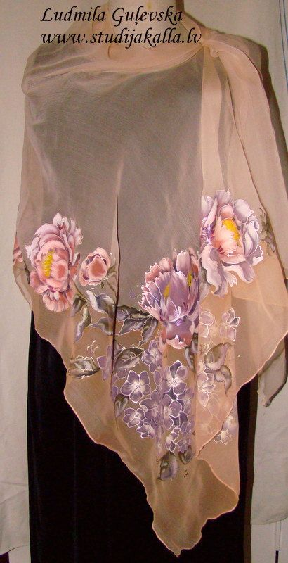 Natural silk shawl - floral, light peach hand painted scarf, hydrangea, peony