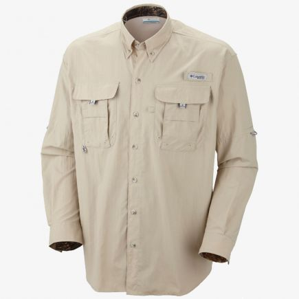 Columbia Sportswear Camo Accented Khaki Long Sleeve Button
