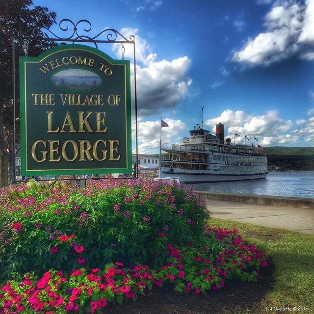 """Welcome to Lake George, New York! The steamboat Lac Du Saint Sacrement (""""The Saint"""") gets ready to sail from Lake George Village on a  luncheon cruise. Digital painting created on iPhone 5S. #LakeGeorgeNY #ADK #Adirondacks"""