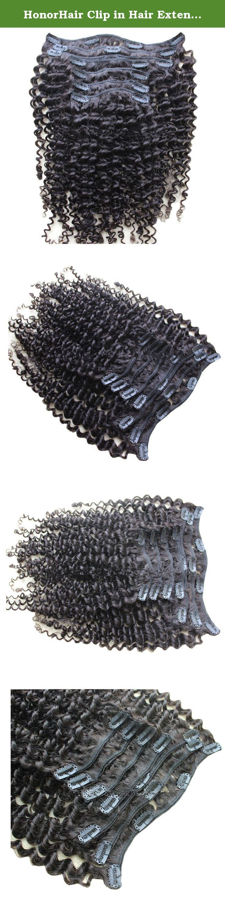 HonorHair Clip in Hair Extensions Kinky Curl 100% Brazilian Virgin Human Hair Weave Kinky Curly Clips on Hair Weaves 100g for Black Women. All of HonorHair Human Hair is UNPROCESSED 100% Brazilian Virgin Hair without any Synthetic or Animal Hair, It is Natural Movement of Premium Quality Virgin Human Hair. 1. The most popular hair extension product all over the world! 2. Clips are already attached and the piece is ready for instant use in just 5 minutes. 3. Usage: Can be curled…
