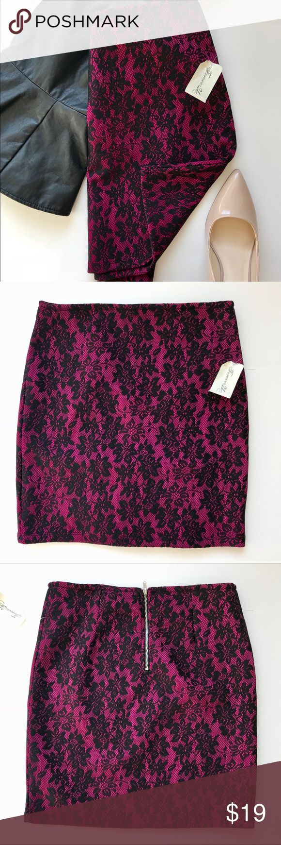 NWT Lace Mini Skirt Size Medium Forever 21 New with tags- never worn and in perfect condition. Deep pink mini skirt with black lace overlay in size medium. Would best fit a 6 or 8. From Forever 21. Thick fabric holds you in and sculpts a flattering silhouette. Has some stretch but not too much, just enough for comfortable wear. Can be worn mid or high rise. Pairs beautifully with black peplum top pictured, also for sale in my closet. Perfect for upcoming holiday party season. Measurements…