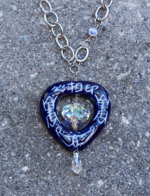 Asian inspired blue pendant necklace with by creativedogstwo, $45.00