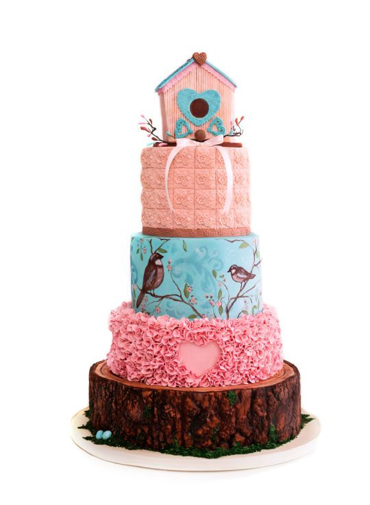 Wonderful creation by Sharon from Curiaussiety Custom Cakes | Bird House cake