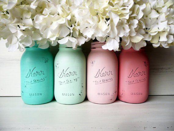 mason jar ideas - shabby chic painted mason jars by Beach Blues