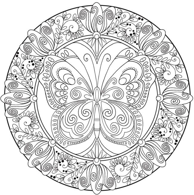 free butterfly flower mandala printable coloring page from dover publications