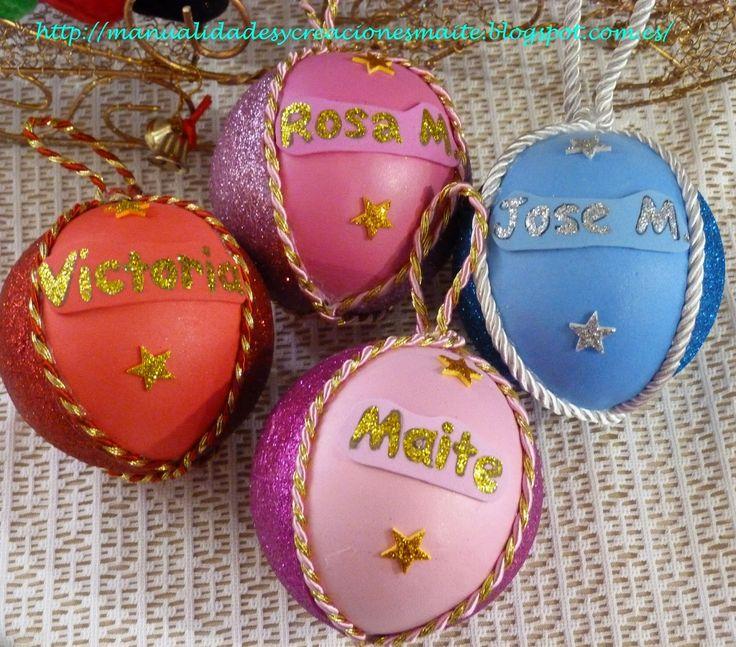 bolas de navidad decoradas en goma eva y personalizadas