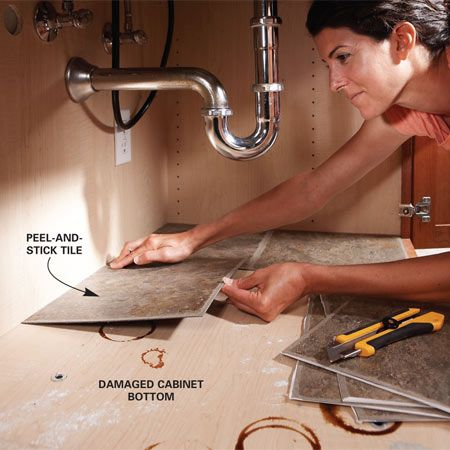 Use peel and stick vinyl flooring for the inside of cabinets....smart!