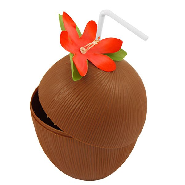 Hawaiian Coconut Cup with Flower and Straw Sold Single Size: Height: 5 Inches (13cm) Width: 4 Inches (10cm) Material: Plastic Great for Hawaiian, Tropical D