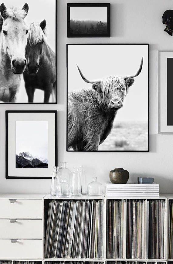 Highland Cow Print Wall Art Printable Art Black And White Etsy Cow Wall Art Highland Cow Art Farmhouse Wall Art