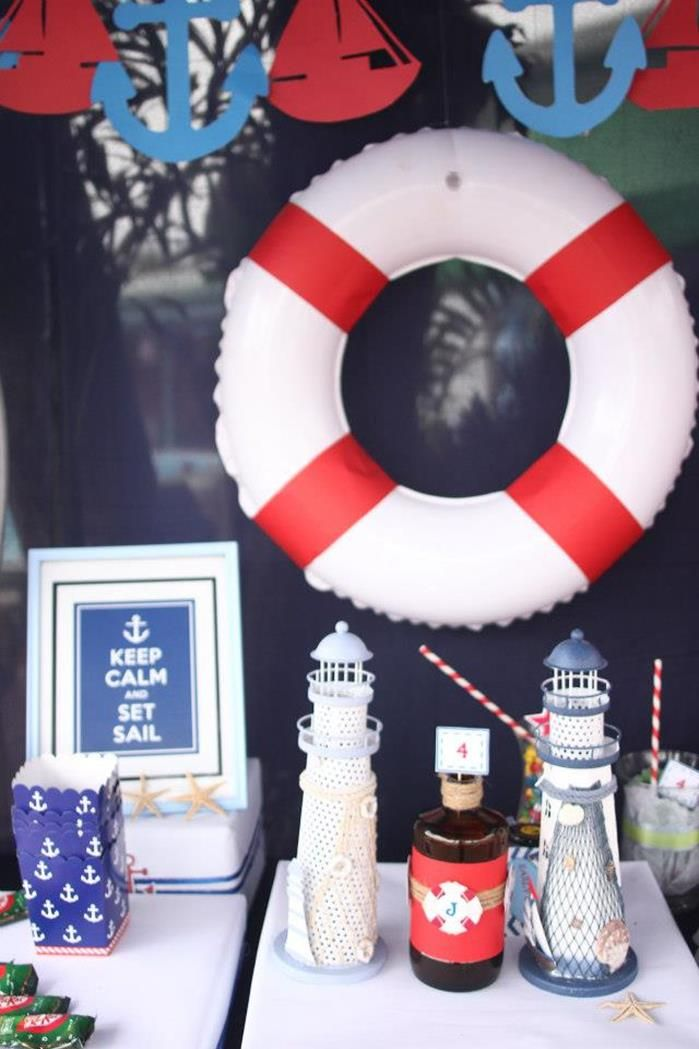 keep calm and set sail, garland, Boat to display cupcakes. Life saver idea for Knox's cake