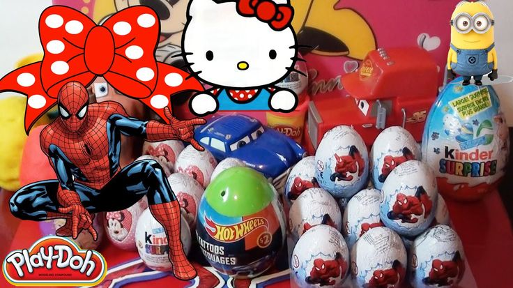 12 Spiderman chocolate eggs from Zaini, kinder. Play-doh surprise eggs. Disney. Hello Kitty. Easter Giant Kinder egg.