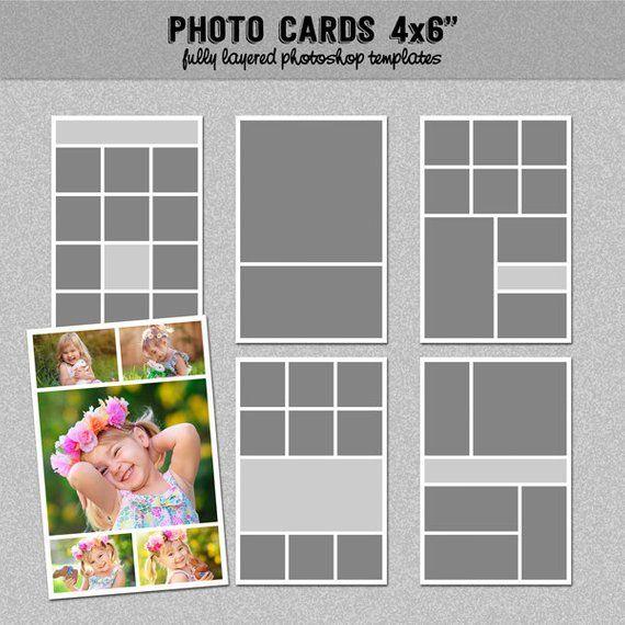 6 Photo Card Templates 4x6 Scrapbook Template Blog Etsy Photo Card Template Postcard Template Card Templates
