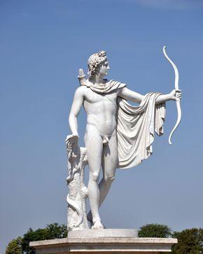 Febo Apolo; dios del sol y arqueria. También es el dios de la música y la poesía, y particularmente de la armonía musical y de los oráculos.