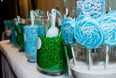 blue and lime green candy bar | Jac o' lyn Murphy: Seaside Sweets~Blue & Green Candy Buffet