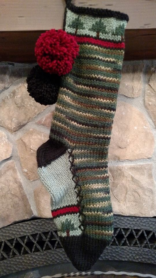 Old Fashioned Hand Knit Christmas Stocking by SantasStockingWorks