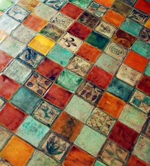 Palace of the Popes Tile Floor, Avignon, France - From Author Polly White's Postcard Collection