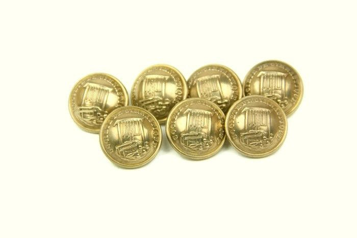 Antique gymnasium society buttons - set of 7 French brass rounded buttons decorated with gymnastics apparatus