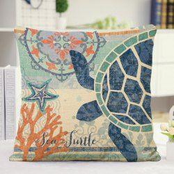 Mediterranean Style Ocean Starfish Turtle Design Pillow Case
