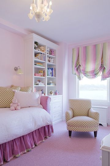 girl's rooms - chandelier purple rug purple daybed settee green pink pillows chair purple bed skirt striped pink green purple valance built-ins bookcase cabinet