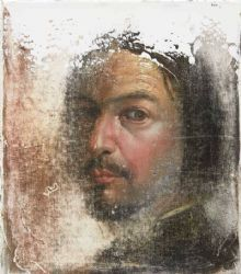 PETER DAVERINGTON : oil and gesso on canvas<br />40 x 30cm