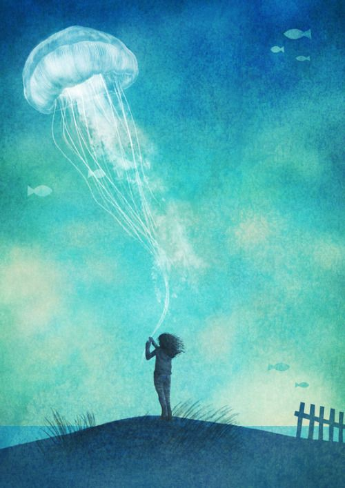 Jellyfish and a watercolour sky